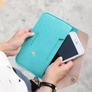 Leyang·Gauisus - Felt Angle Flip Cover Mobile Phone Storage Bag/Passport Bag - Tiffany Green