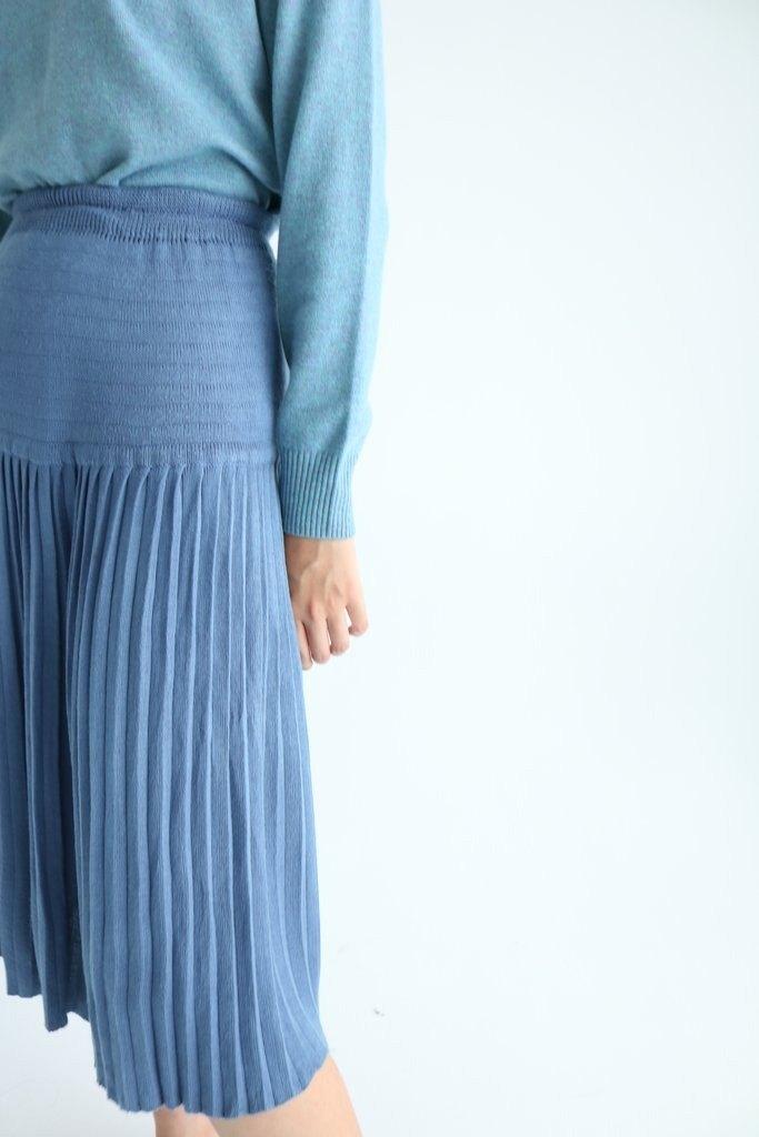 2f4dcc84f1 Roco Skirt {Vintage} ancient blue gray knitted wool pleated skirt -  Designer MétaFormose | Pinkoi