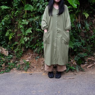 Japanese Matcha Green V-neck Puff Sleeve Shirt Dress