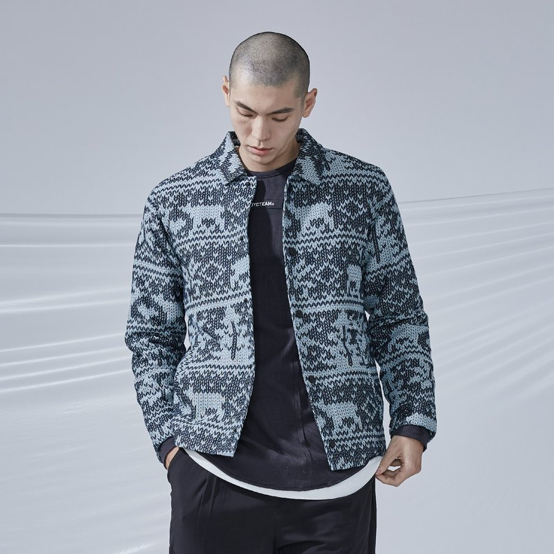 DYCTEAM - Woven Pattern Jacquard Coach Coat雪花緹花教練外套