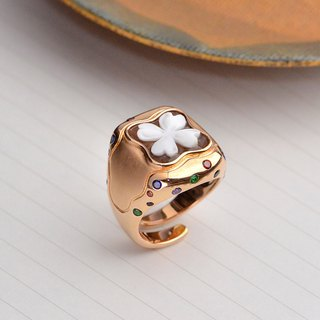 Italian handmade shell carving light jewelry - color stone shell carving ring - A98 rose gold (flower)