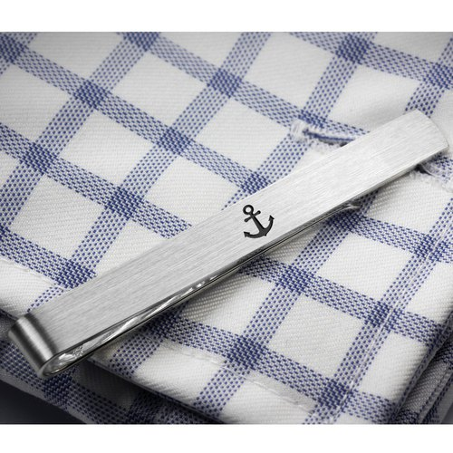 Engraved tie clip - Anchor jewelry for men - Personalized tie clip 925 silver