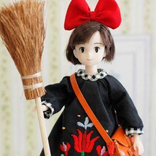 Kiki's Delivery Service Qi Qi Li Doll Size handmade flower embroidery witch dress