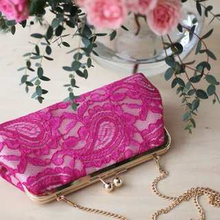 Handmade Clutch Bag in Fuchsia | Gift for mom, bridal, bridesmaids | Alencon Paisley Lace