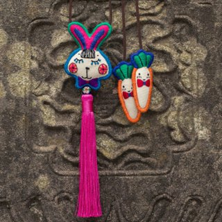 White rabbit and carrot hand-embroidered cute fringed necklace bunny Mori Sen female literary kawaii