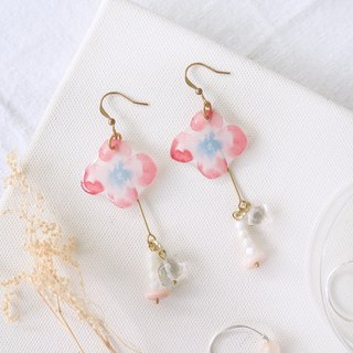 Flower Collection Handmade Earrings - Like You Crystal Nasal Pink Opal Can Change Clip