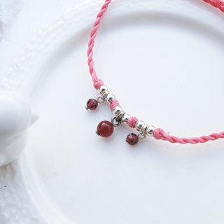 Big staff Taipa [handmade silver] Red agate × garnet × hanging ultra-fine wax rope bracelet