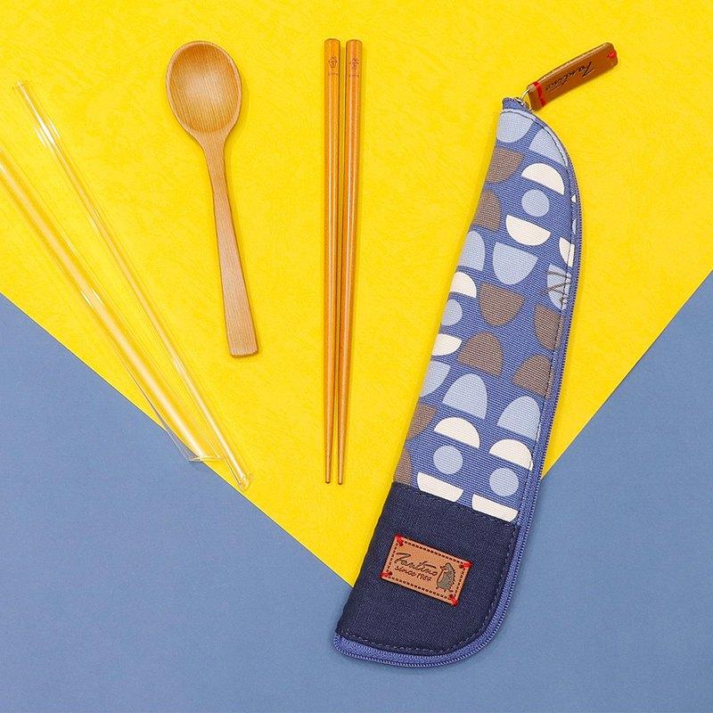 獨創布花 棉麻餐具袋::藍水玉:: (水玉迷宮)環保餐具/交換禮物