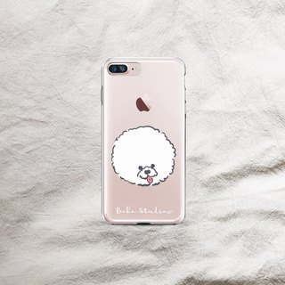 Bichon dog head simple transparent soft shell phone case
