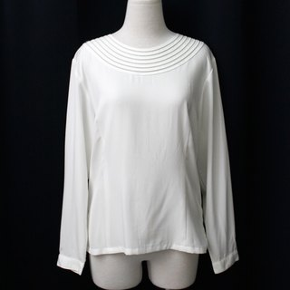 [RE0407T1945] Nippon simple retro hollow whims round neck white shirt vintage