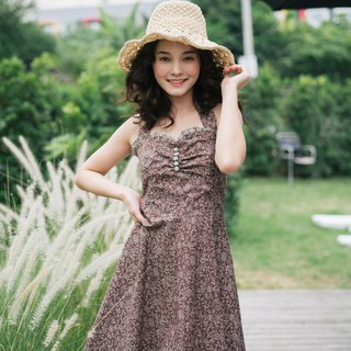 Floral Dress in Brown Vintage Retro Party Dress Halter Swing Skirt Cotton Dress