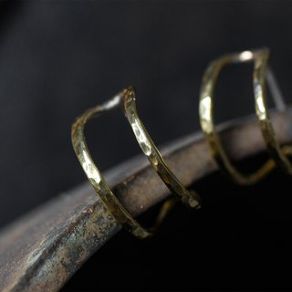 Fine brass double hoop earrings - clip earrings