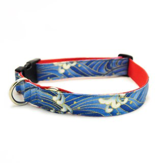 Dog Collar Safety Light  blue waves-stylish dog collar