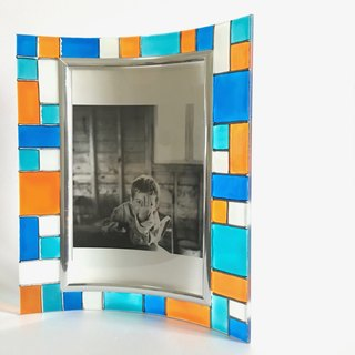 Turquoise Blue Orange Colour Blocks Art Deco Retro Photo Frame