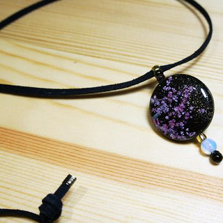 Hand painted nightfall sakura cherry blossom wood charm faux suede long necklace