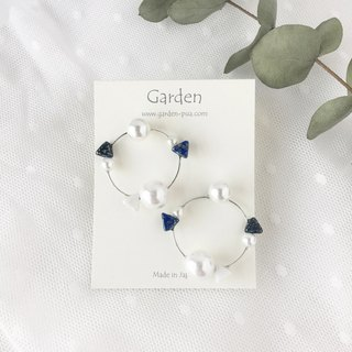 circle earrings blue black silver
