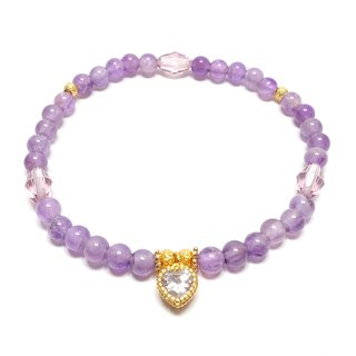 Natural amethyst SWAROVSKI amethyst copper-plated heart-shaped zircon bracelet lucky stone