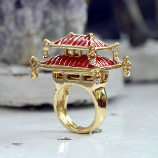 TIMBEE LO LIMITED EDITION Epoxy RED Japanese Castle Ring elastic size adjuster Fashion Designer Brand
