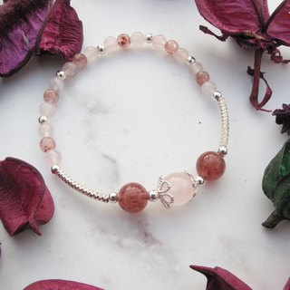 Big staff Taipa [natural stone] powder crystal × strawberry crystal × silver tube × flower cover × sterling silver beaded bracelet