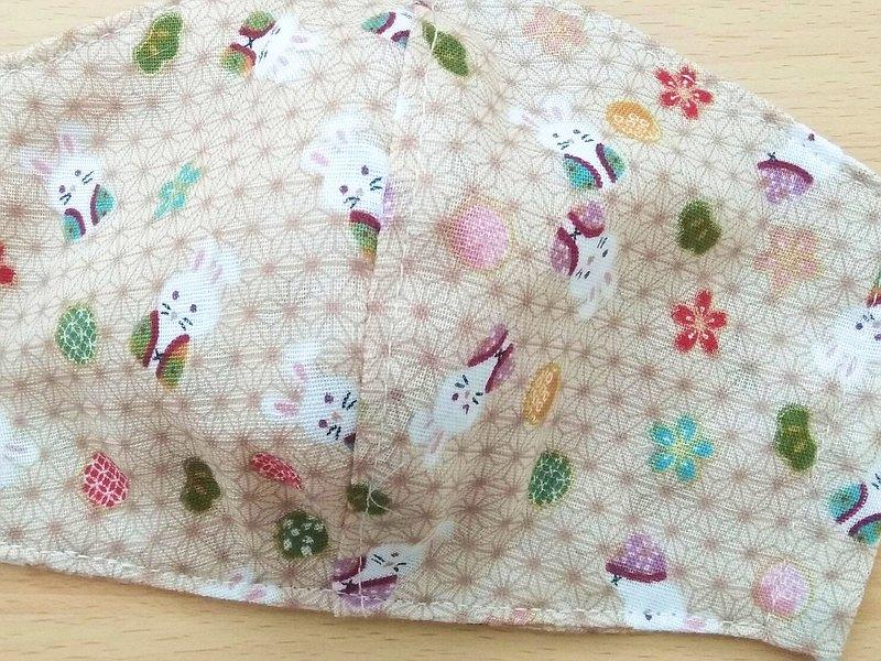 口罩,可重複使用,可水洗,兒童,成人,兔子,日式雙層紗布,3尺碼