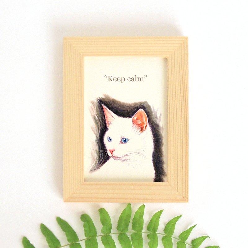 貓言喵語小幅迷你裝飾畫 給貓咪貓奴的禮物 白貓 土耳其安哥拉貓