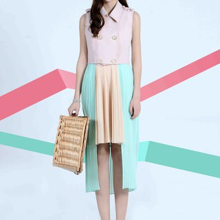 Pastel Holiday Series Ice Cream Contrast Detachable Vest Pleated Dress