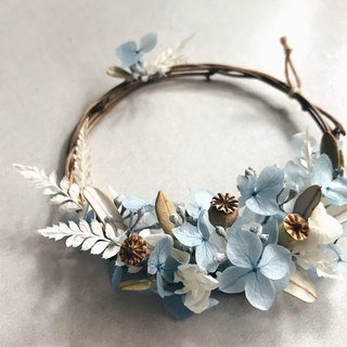 [hydrangea small wreath - sky blue & lake green] dry flowers. Everlasting flowers. Not withered flowers