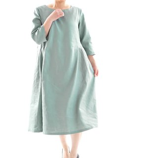 linen dress with tucks on the side / 3/4 three-quarter sleeves a1-17
