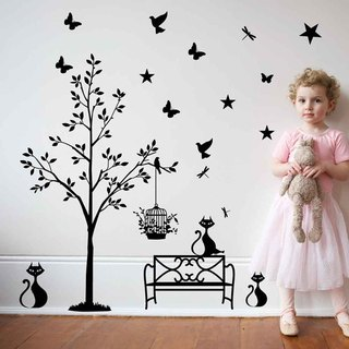"""Smart Design"" Creative Seamless wall stickers ◆ cat Daisakusen (8 colors optional)"