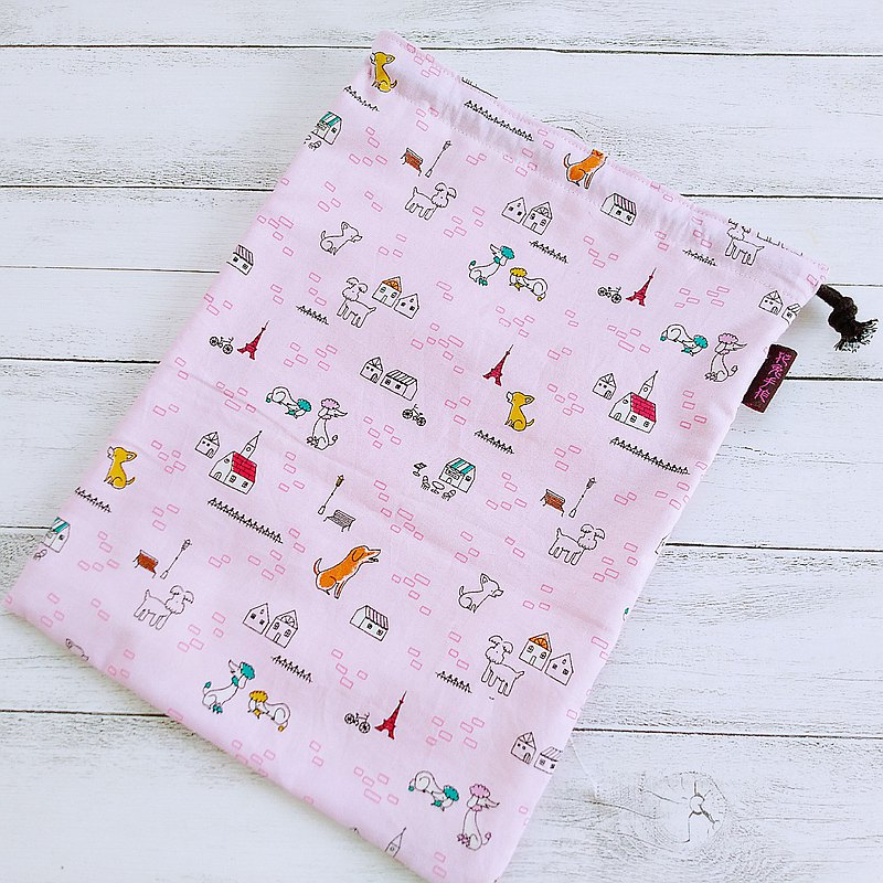 Cute dog pure cotton thin sail extra large drawstring bag food bag vegetable bag sundries bag