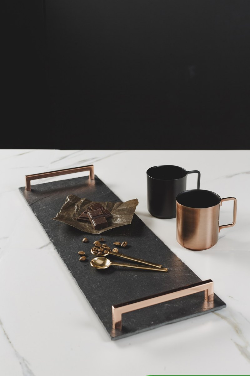 (New shelves) Rose Gold Handle Food Tray (Large) - UK