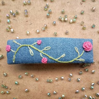 R ee denim rose embroidery hair clip HA004