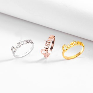 Customized Letter Ring / English Name Silver Ring / Couple Ring Custom Order / 925 Sterling Silver / Rose Gold Plated / Plated 18K Gold-For Men and Women