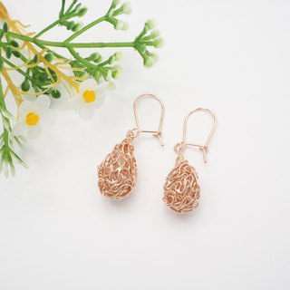Swirl wire drop shape sterling silver Rose gold plated earring