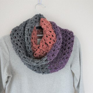 Long snood,scarf,tomato color and gray and purple,handknit