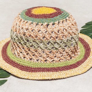 Valentine's Day Valentine's Day gift limited to a desert travel wind braided cotton hat / knit hat / fisherman hat / sun hat / straw hat / hand-knitted cotton hat / crocheted cotton / cap / painter cap / design cap-Moroccan orange latte cake Stripe