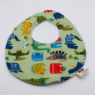 Cute dinosaur green bottom bib double yarn saliva towel design
