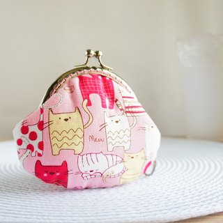 Lovely smile cat mouth gold purse, pink