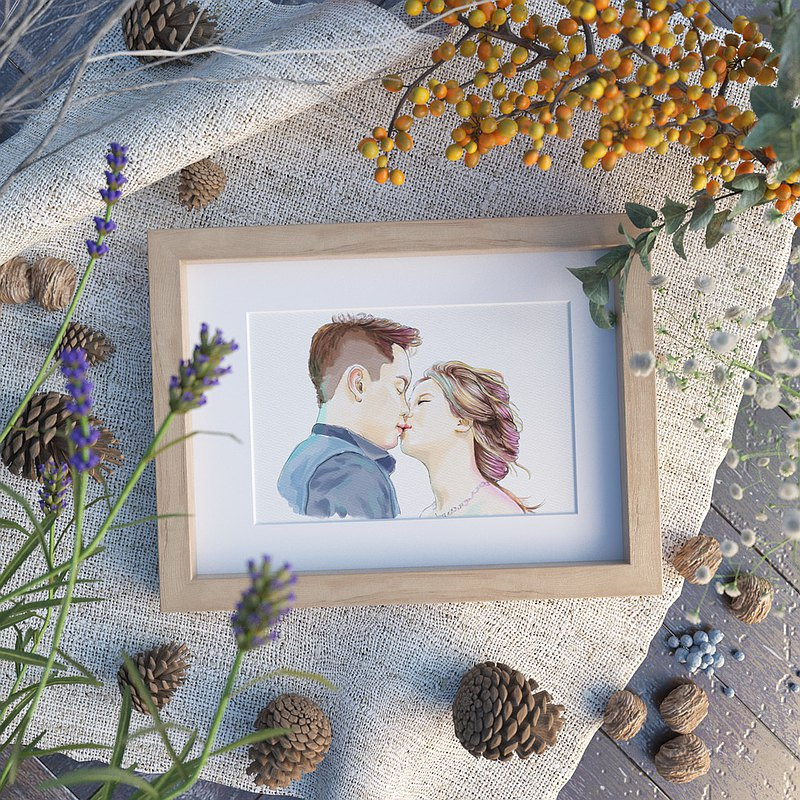 Custom wedding portrait|horizontal style (bust)|8 inch photo frame