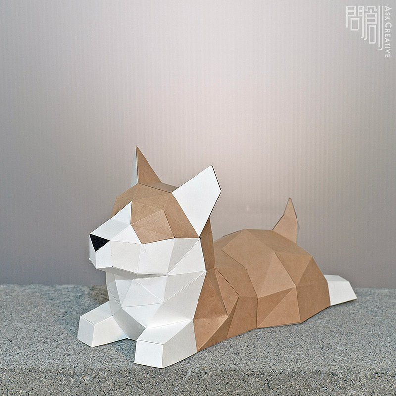 DIY手作3D紙模型擺飾 狗狗系列 -小柯基