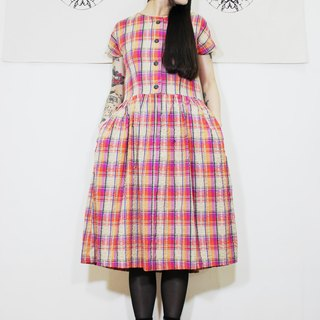 F2009 (Vintage) Pink Khaki Check Cotton Short Sleeve Vintage Dress (Wedding / Picnic / Party)