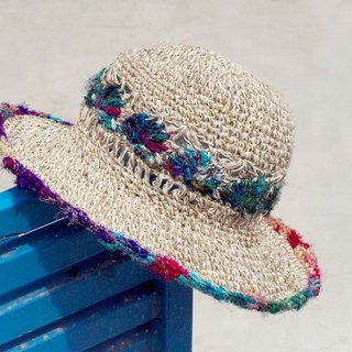 Tanabata gift limited a handmade sari line weaving cotton linen / weaving hat / fisherman hat / straw hat - gradient hand twist yarn lace line flower weaving