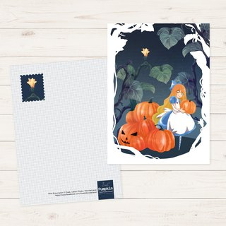 Postcard ▌ Alice in Wonderland ▌ Halloween Alice Pumpkin