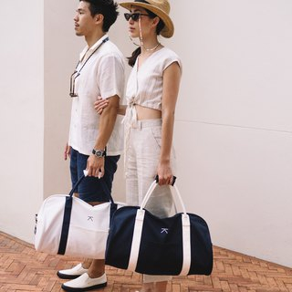 Canvas travel duffle bag - White - navy straps