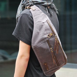 PERSONALIZED GENUINE LEATHER AND WAXED CANVAS OVERSIZED BUM BAG / CROSSBODY BAG