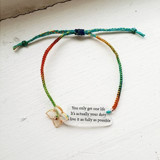 momolico rainbow rope woven bracelet micro text message on his life in charge of youth sentence
