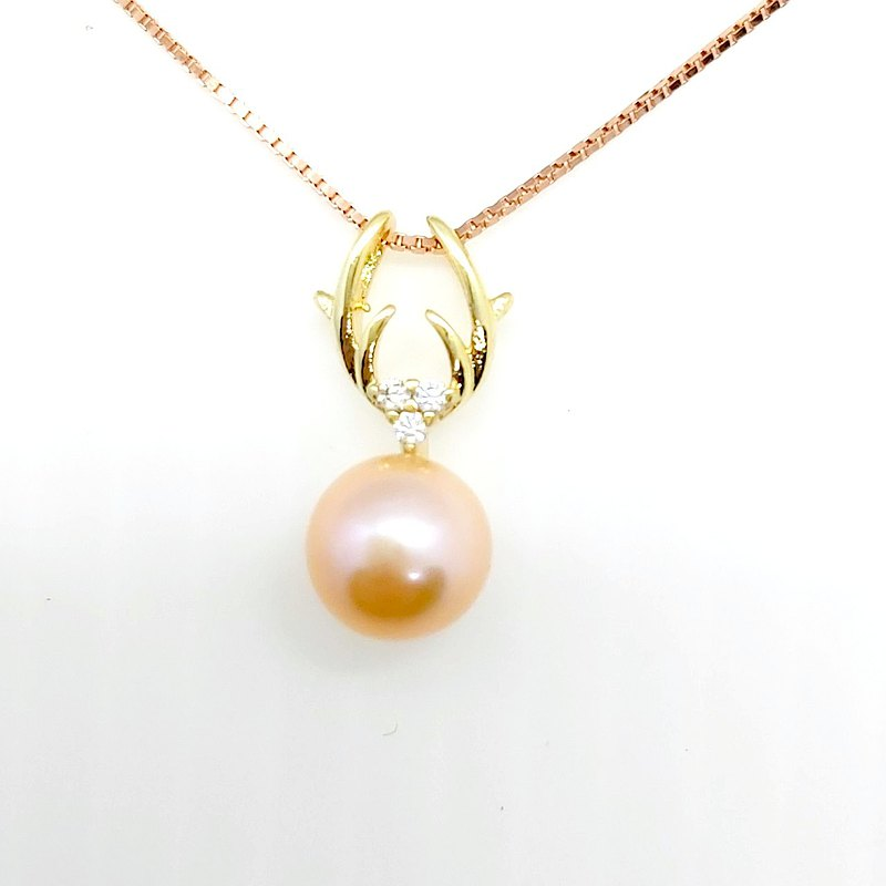 Antler Diamond Freshwater Pearl Sterling Silver Necklace (Rose Gold Sterling Silver Chain)