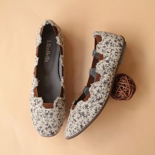 [Sleep Garden] Floral Flats - Coffee Rattan