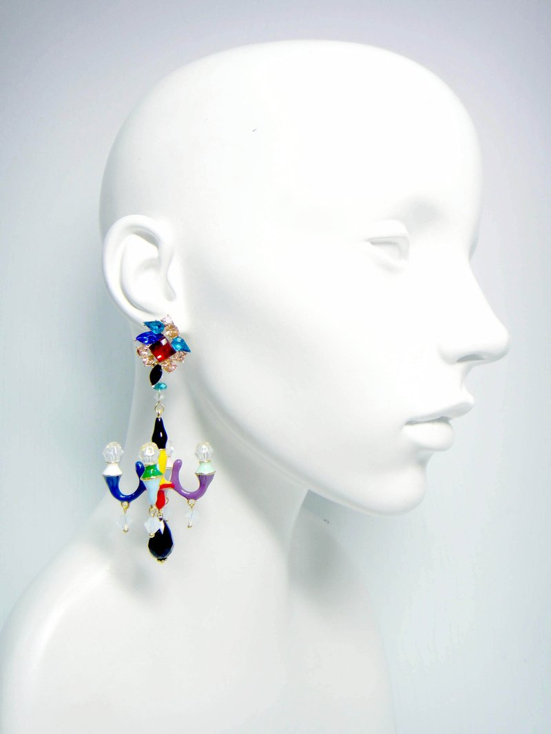 TIMBEE LO signature style giant chandelier earrings [circus seven color series]