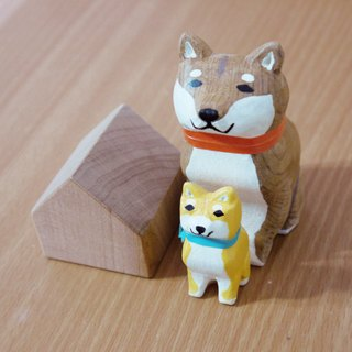 Handmade wooden carvings _ Shiba Inu (2 into 1 group)